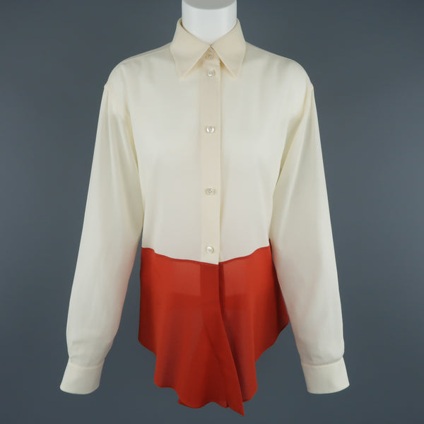 Vintage HERMES Size 8 Beige & Orange Color Block Silk Chiffon Blouse