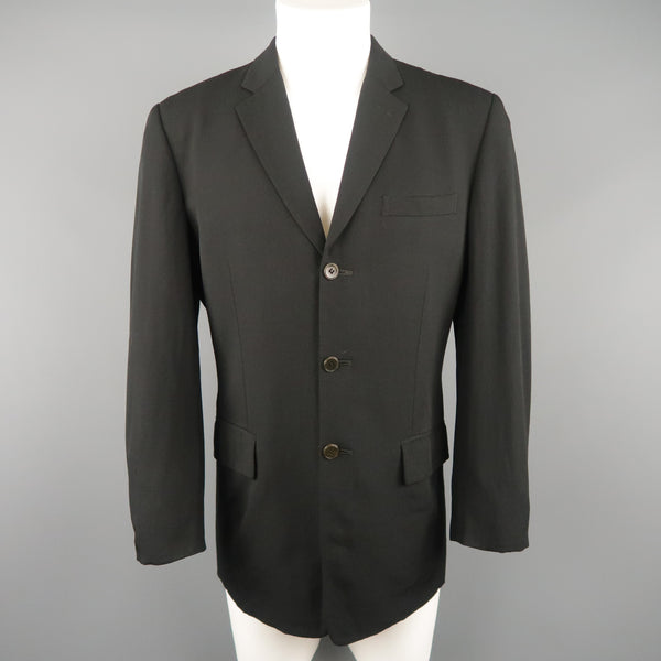 Vintage JEAN PAUL GAULTIER 38 Black Wool Twill Notch Lapel Sport Coat