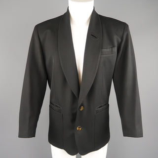 Vintage JEAN PAUL GAULTIER S Black Solid Wool Blend Shawl Collar Jacket