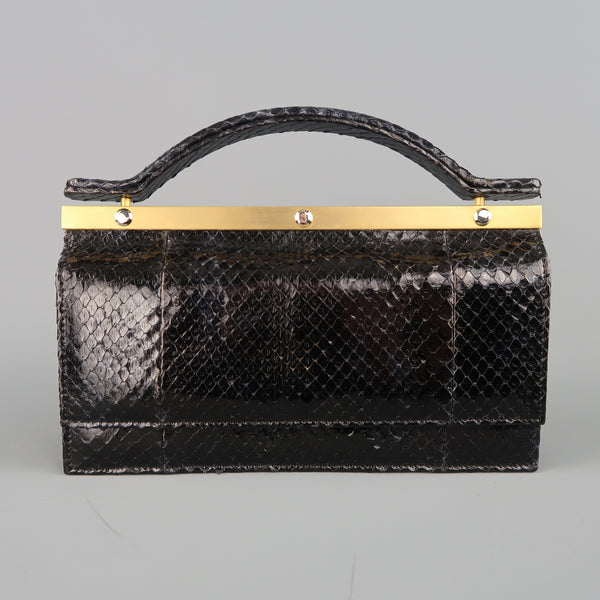 Vintage LEU LOCATI Black Snake Skin Leather Gold Metal Evening Handbag