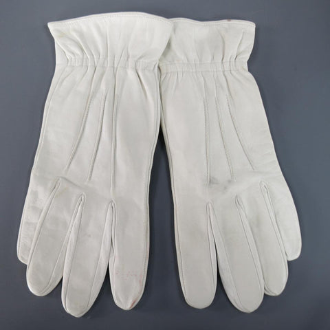 Vintage NEIMAN MARCUS Size M White Leather Elastic Cuff Gloves
