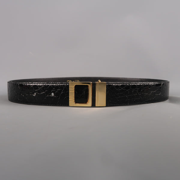 Vintage P&B Size 30 Black Patent Alligator Textured Leather Belt