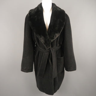 Vintage SONIA RYKIEL Size L Black Faux Fur Shawl Collar Robe Coat