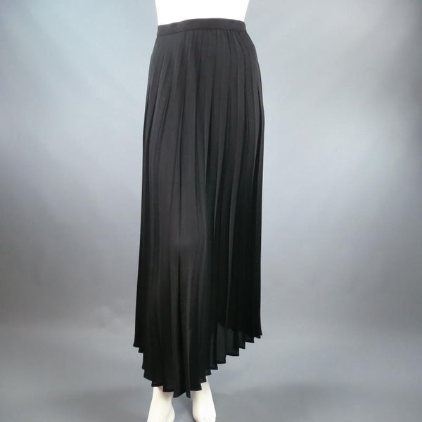 Vintage THIERRY MUGLER Size 10 Black Pleated Midi Skirt New With Tags