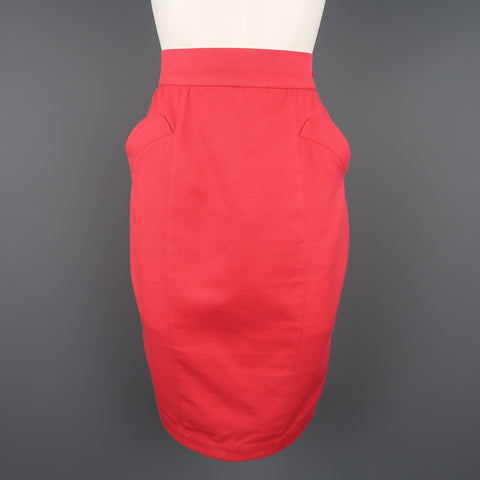 Vintage THIERY MUGLER Size 8 Coral Pink Cotton Canvas Pencil Skirt