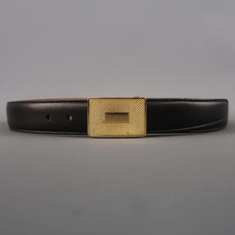 Vintage TRAFALGAR Size 30 Black Leather Gold Rectangle Buckle Belt