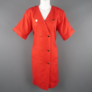 Vintage YVES SAINT LAURENT Size 14 Red Linen Double Breasted  Dress
