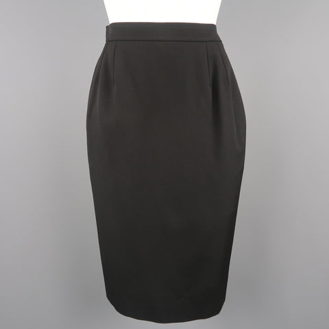 YVES SAINT LAURENT Rive Gauche Size 2 Black Wool Pencil Skirt