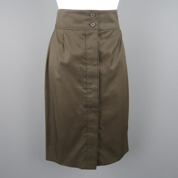 YVES SAINT LAURENT by TOM FORD Size 8 Dark Green Cotton Pencil Skirt