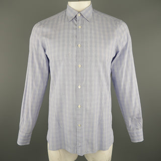 Z ZEGNA Size L Blue Checkered Cotton Long Sleeve Shirt