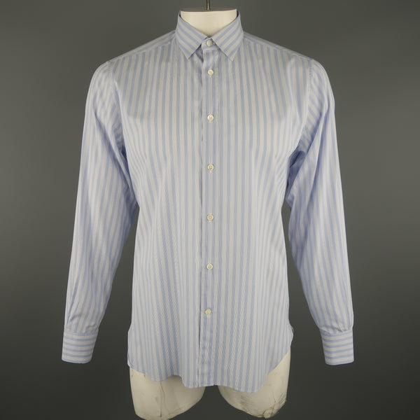Z ZEGNA Size L Blue Stripe Cotton Long Sleeve Shirt