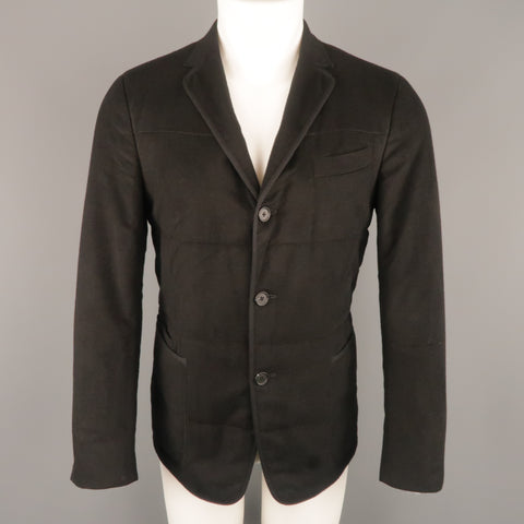 Z ZEGNA US 38 Black Quilted Silk Notch Lapel  Patch Pocket Sport Coat