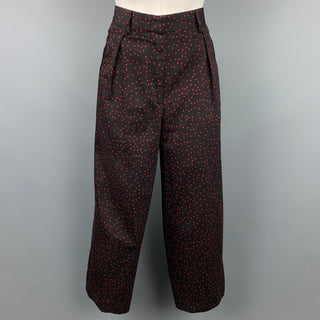 DRIES VAN NOTEN Size 6 Black & Red Star Print Cotton Wide Leg Dress Pants