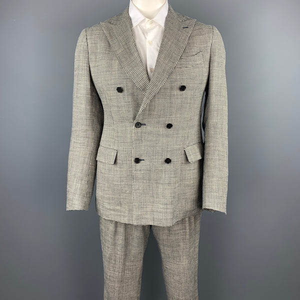 LARDINI Size 42 Regular Black & Beige Houndstooth Silk / Linen Double Breasted Suit