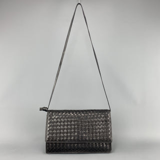 Vintage BOTTEGA VENETA Black Intrecciato Woven Leather Shoulder Bag