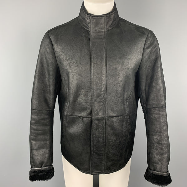 JIL SANDER Size 42  Black Shearling Leather High Collar Zip Up Jacket