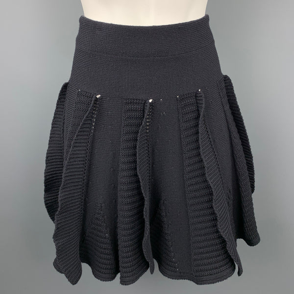 VALENTINO Size S Black Knitted Textured Virgin Wool Circle Skirt