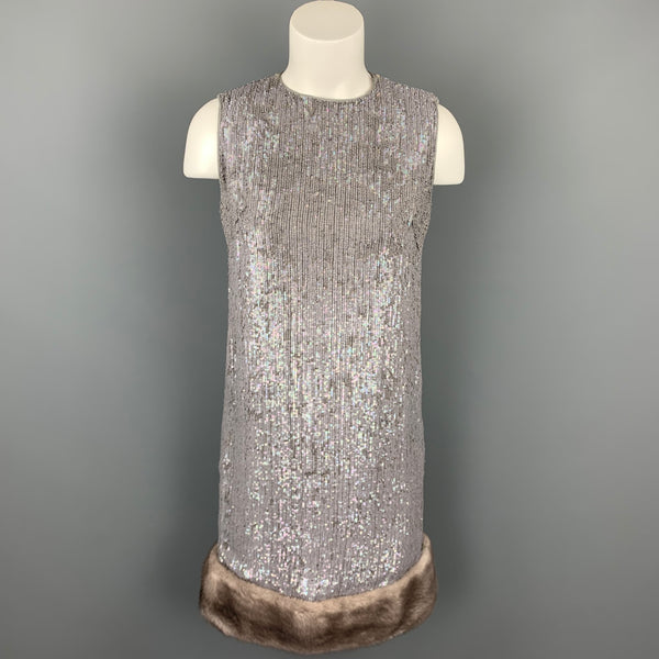 NORMAN AMBROSE Size 4 Gray Silk Sequined Mink Fur Panel Shift Cocktail Dress