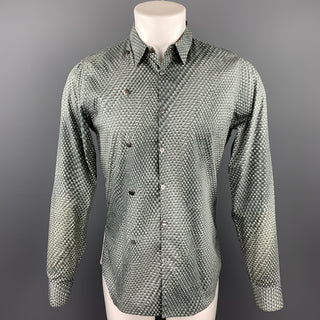 CALVIN KLEIN COLLECTION Size M Gray Print Cotton Button Up Long Sleeve Shirt