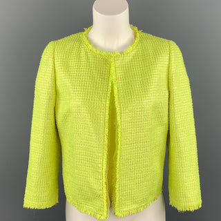 GIAMBATTISTA VALLI Size 8 Green Woven Paper Blend Cropped Open Front Jacket