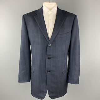 ERMENEGILDO ZEGNA Size 48 Long Navy Plaid Wool Notch Lapel Long Sport Coat