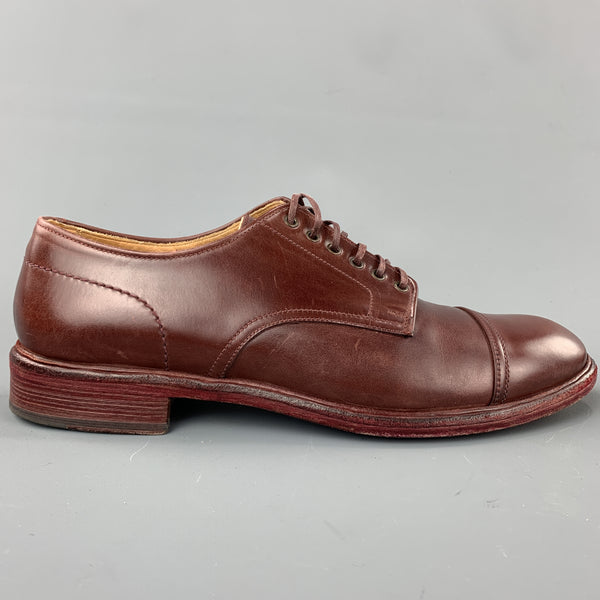 PAUL SMITH Size 9 Solid Burgundy Leather Cap Toe Lace Up