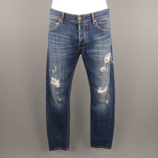 RAF by RAF SIMONS Size 34 Indigo Distressed Denim Jeans