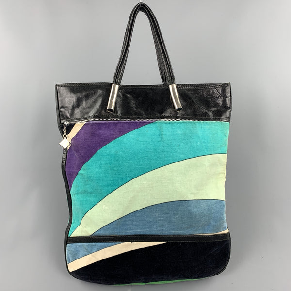 EMILIO PUCCI  Blue Color Block Velvet Patent Leather Tote Handbag