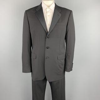 PRADA Size 44 Black Wool Notch Lapel Tuxedo