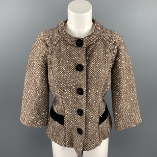 MARC JACOBS Size 6 Brown Boucle Wool Blend Jacket