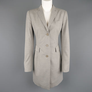 AKRIS Size US 6 Light Heather Gray Notch Lapel Three Button Long Coat