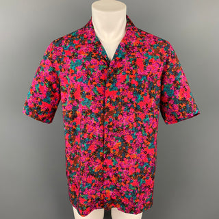 DRIES VAN NOTEN S/S 20 Size M Fuchsia & Green Floral Viscose Camp Short Sleeve Shirt