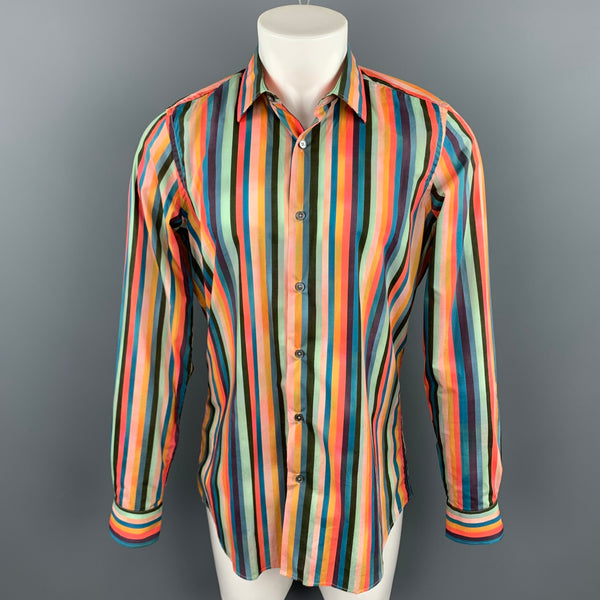 PAUL SMITH Size M Multi-Color Stripe Cotton Button Up Long Sleeve Shirt