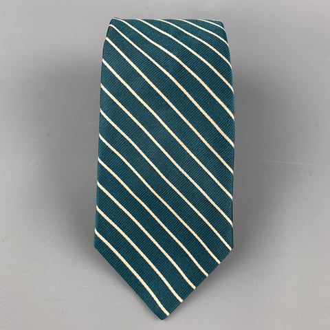 MICHAEL BASTIAN Green & White Diagonal Striped Silk Tie