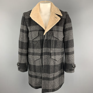 NUMBER (N)INE Size L Gray & Black Plaid Wool / Nylon Hidden Buttons Coat