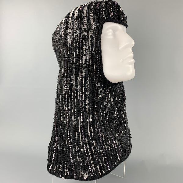 DOLCE & GABBANA Black Knitted Sequined Wool Blend Hood Scarf Hat