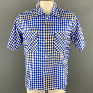 CHIMALA Size M Blue & White Plaid Cotton Button Up Short Sleeve Shirt