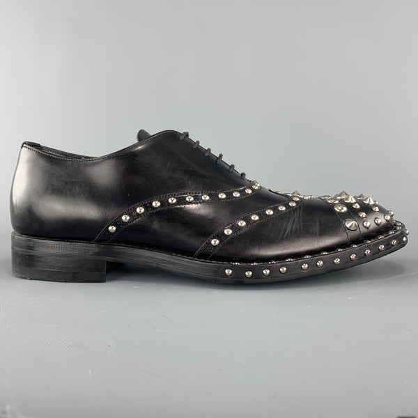 PRADA F/W 09 Size 8.5 Black Studded Leather Cap Toe Lace Up Shoes
