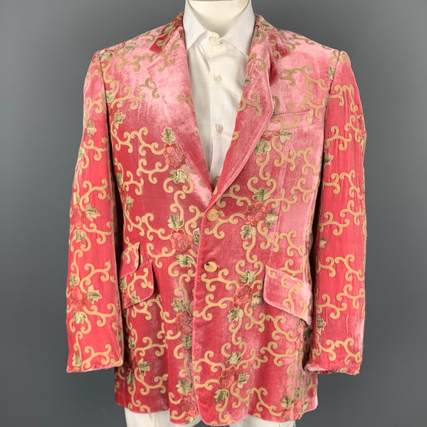 PAUL SMITH Size 42 Rose Embroidery Velvet Notch Lapel Blazer Sport Coat
