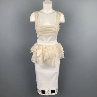 LOUIS VUITTON Size 6 White & Beige Ruched Bust Ruffled Belt Cocktail Dress