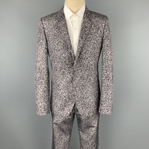 CALVIN KLEIN COLLECTION Size 40 Grey Spotted Polyester Notch Lapel Suit
