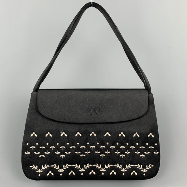 ANYA HINDMARCH Black Embroidered Satin Evening Mini Handbag
