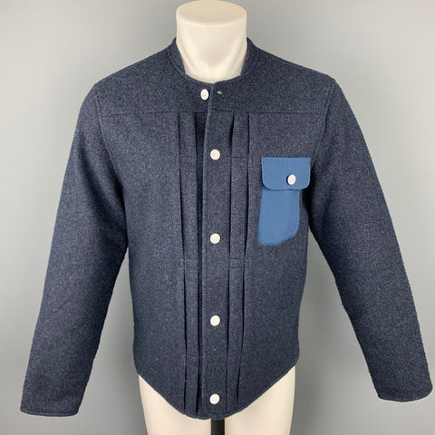 LEVI'S Size M Navy  Fleece Collarless Buttoned Jacket