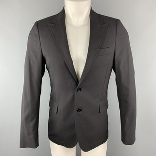 MESSAGERIE 36 Black Solid Polyester Blend Peak Lapel Single Breasted Sport Coat