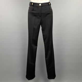 ROBERTO CAVALLI Size 2 Black Tweed Gold Button Dress Pants