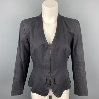 GIORGIO ARMANI Size 6 Slate Silk / Linen Zip Up Jacket