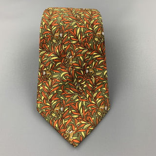 SALVATORE FERRAGAMO Olive Green & Orange Silk Monkey Print Tie