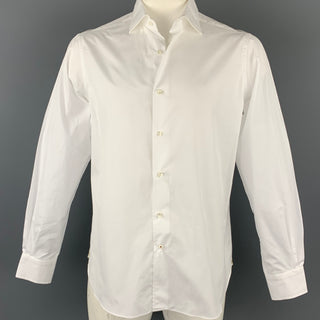 LORO PIANA Size L White Cotton Button Up Long Sleeve Shirt