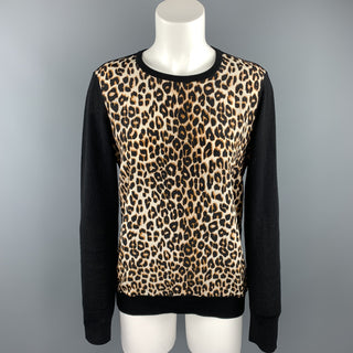 EQUIPMENT Size S Black & Tan Leopard Wool / Silk Pullover
