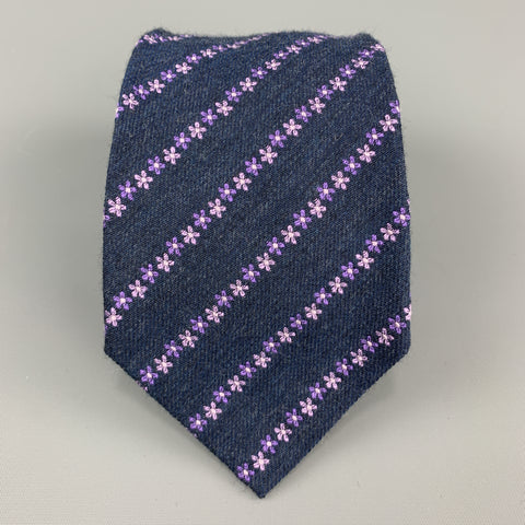 CHRISTIAN LACROIX  Navy & Purple Floral Stripe Silk / Wool Tie